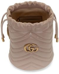Gucci Pink Mini GG Marmont Bucket Bag - Multicolour