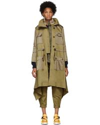 Chloé - Beige And Green Fishtail Parka - Lyst