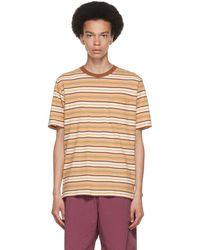 Beams Plus White & Brown Striped Border T-shirt - Multicolour