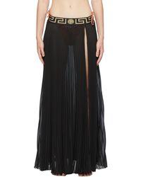 Versace Black Pleated Medusa Skirt