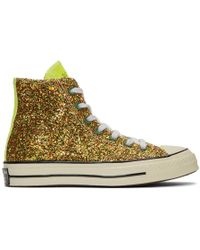 JW Anderson Gold And Silver Converse Edition Glitter Chuck 70 High Sneakers - Metallic