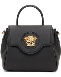 Versace ブラック スモール La Medusaトップ ハンドル バッグ