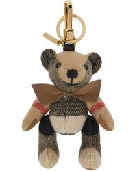 Burberry Beige Bow Tie Thomas Keychain - Natural