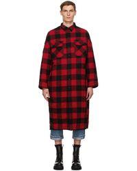 R13 レッド And ブラック チェック ロング オーバーシャツ コート
