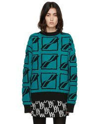 we11done Bouclé Square Logo All Over Jumper - Green