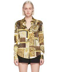 Versace ブラウン & ゴールド シルク Barocco Patchwork シャツ - メタリック