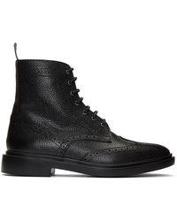 Thom Browne ブラック クラシック ウィングチップ ブーツ