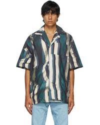 Bianca Saunders Blue & Beige Zig Zag Short Sleeve Shirt