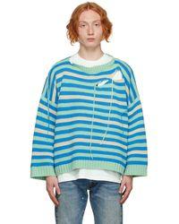Charles Jeffrey LOVERBOY Pull vert et bleu à découpes