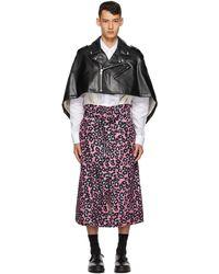 Comme des Garçons ブラック & ピンク フェイクレザー レオパード ポンチョ コート