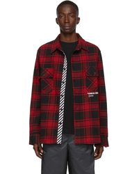 Off-White c/o Virgil Abloh Ssense Exclusive Red Quote Flannel Shirt
