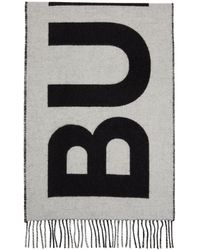 Burberry Black & White Cashmere Mega Check Logo Scarf
