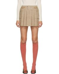 Gucci Off-white And Beige Wool Houndstooth Miniskirt - Natural