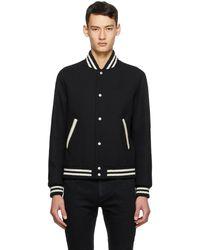 Saint Laurent Blouson aviateur en laine noir Teddy Varsity