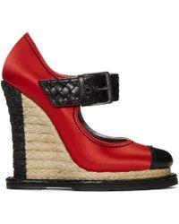 Bottega Veneta - Red Satin Wedge Heels - Lyst