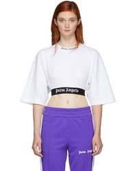 Palm Angels - White Cropped Logo T-shirt - Lyst