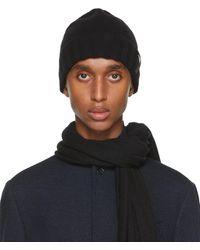 Ermenegildo Zegna Black Cashmere Solid Beanie