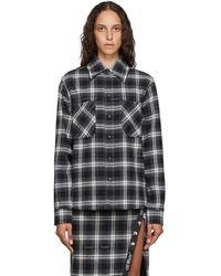 Off-White c/o Virgil Abloh Black And White Flannel Stencil Shirt