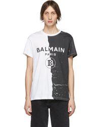 Balmain T-shirt noir et blanc Printed