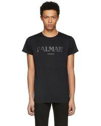 Balmain - Black Logo T-shirt - Lyst
