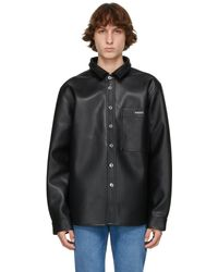 Axel Arigato Black Faux-leather Thames Overshirt