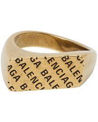 Balenciaga Gold Precious Logo Rectangle Ring - Metallic