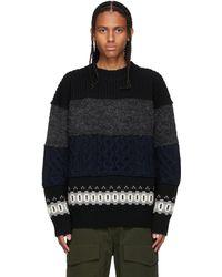 Sacai ブラック & グレー ニット セーター