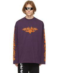 Vetements Purple Gothic Logo Long Sleeve T-shirt