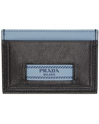 Prada - Black And Blue Etiquette Card Holder - Lyst