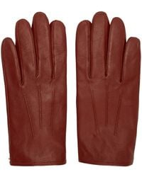 HUGO Red Leather Gloves