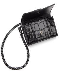 Balenciaga Sac portefeuille embosse facon croco noir Mini Hourglass