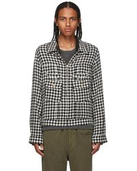 BED j.w. FORD Black & White Check Overshirt Jacket
