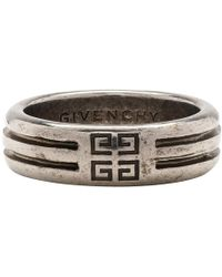 Givenchy Silver 4g Double Row Ring - Metallic
