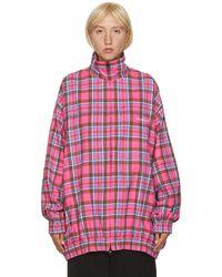 Balenciaga ピンク フランネル チェック オーバーサイズ ジップアップ ジャケット