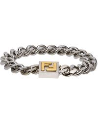 Fendi Silver And Gold Ff Bracelet - Metallic