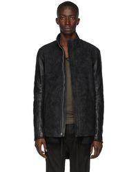 Boris Bidjan Saberi Black Leather Oil Washed Jacket