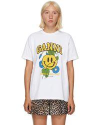 Ganni ホワイト Smiley Flower T シャツ