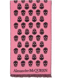 Alexander McQueen Foulard rose et noir Skull