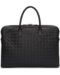 Bottega Veneta Black Medium Intrecciato Briefcase