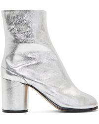 Maison Margiela - Silver Metallic Tabi Boots - Lyst