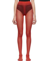Gucci - Red Plain Logo Tights - Lyst