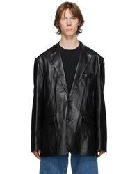 Vetements ブラック レザー スーツ ジャケット