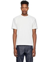 Issey Miyake T-shirt a manches courtes blanc Tucked Stripe