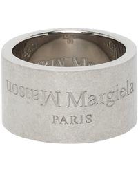 Maison Margiela Silver Wide Logo Ring - Metallic