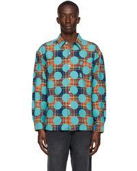 AWAKE NY Orange Flannel Polka Dot Shirt - Blue