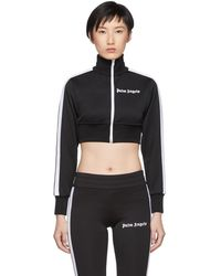Palm Angels - Black And White Cropped Track Jacket - Lyst