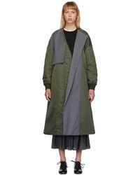 Enfold Green Twill Mix Fabric Coat