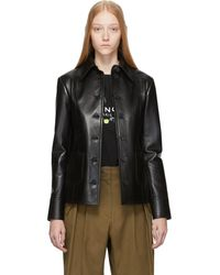 Givenchy Black Leather Button-down Jacket