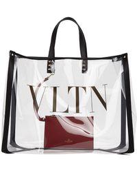 Valentino Cabas en PVC transparent Large VLTN Garavani - Multicolore