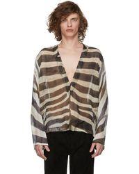 Saint Laurent - Tan Animal Print Tunic Shirt - Lyst